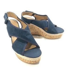 Franco Sarto Blue Suede Espadrille Wedge Sandals